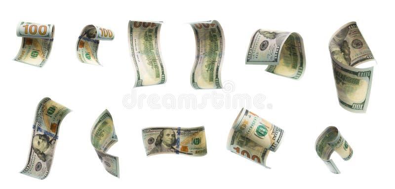 Inzameling van vliegende bankbiljetten van honderd dollars Mening vanuit verschillende invalshoeken stock foto