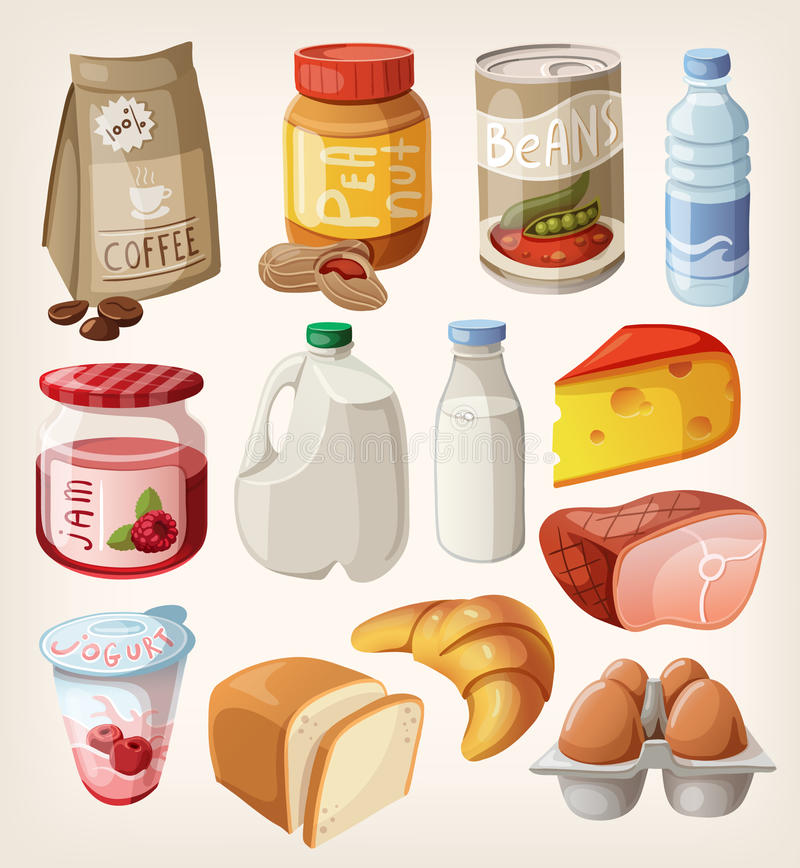 Inzameling van voedsel dat wij kopen of elke dag eten. royalty-vrije illustratie