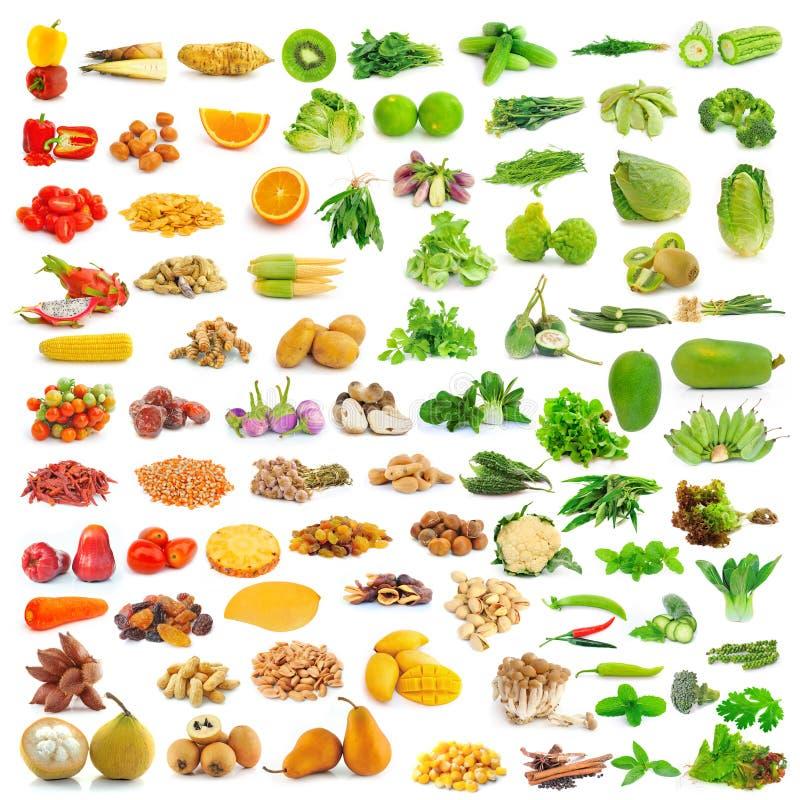 Inzameling van voedsel op wit stock foto's