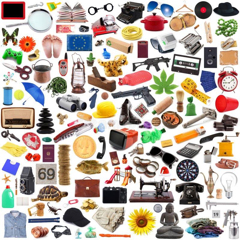 Inzameling van voorwerpen in chaos op witte achtergrond royalty-vrije stock afbeelding