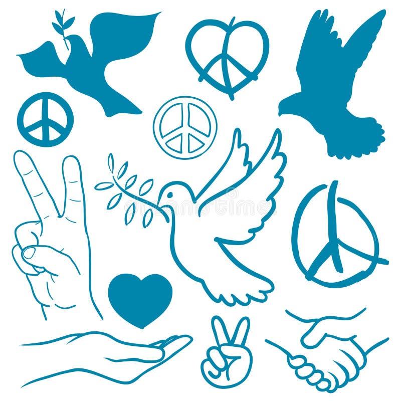 Inzameling van vrede en liefde als thema gehade pictogrammen royalty-vrije illustratie