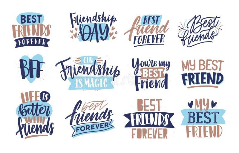 Inzameling van vrienden en vriendschap van letters voorzien met de hand geschreven met elegante kalligrafische doopvonten Bundel  vector illustratie