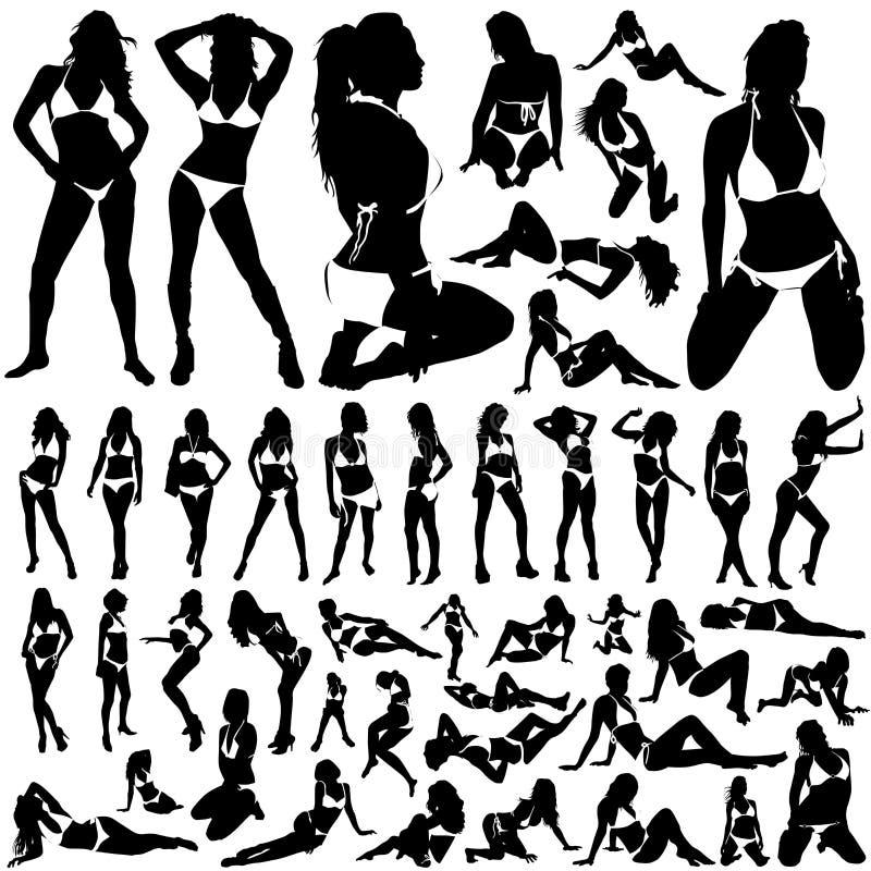 Inzameling van vrouwen in bikinivector stock illustratie