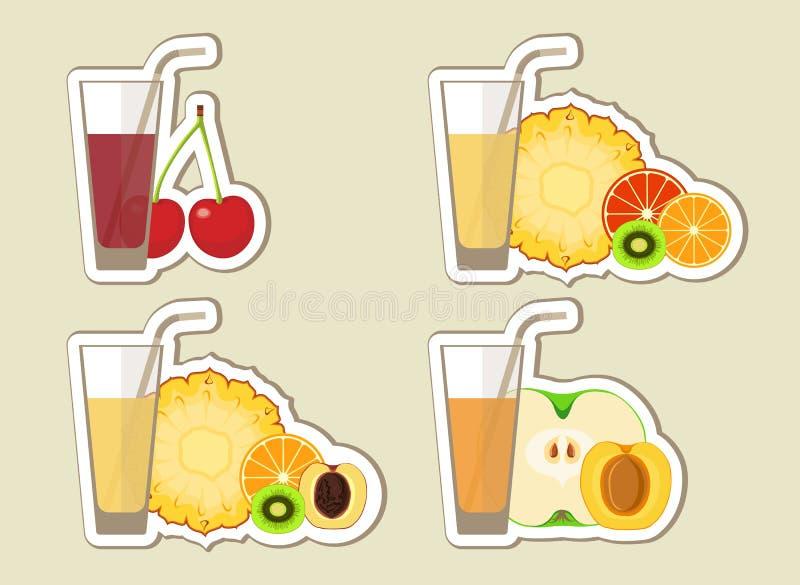 Inzameling van vruchtensappen en cocktail vector illustratie