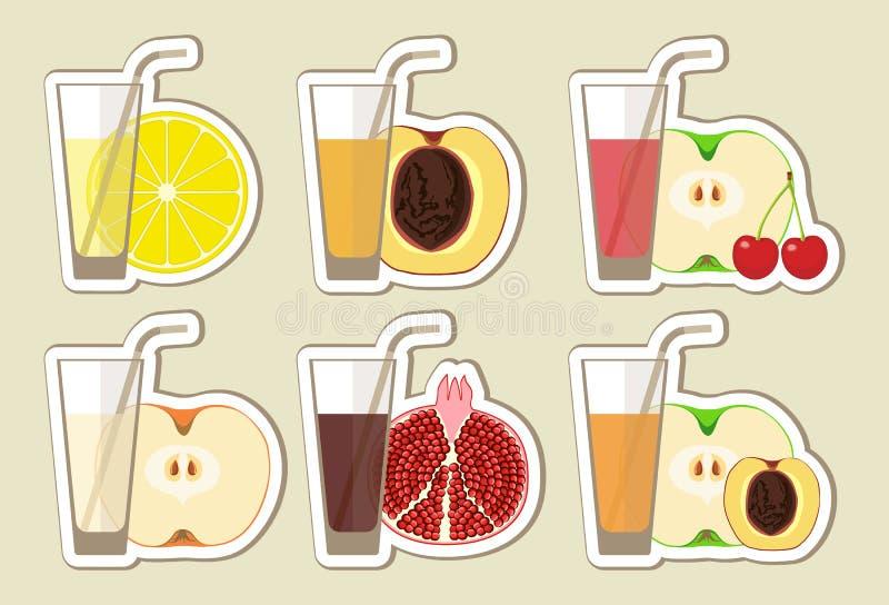 Inzameling van vruchtensappen en cocktail stock illustratie