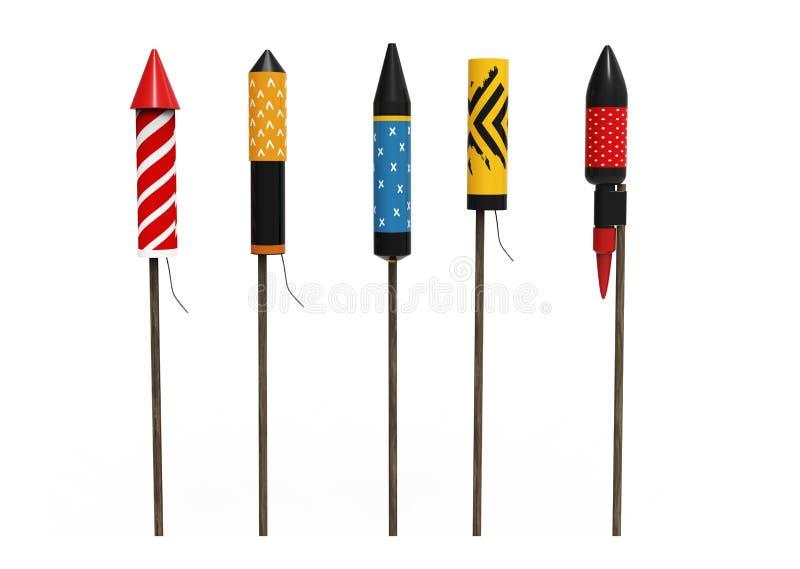 Inzameling van vuurwerkraketten, op witte achtergrond wordt geïsoleerd die stock illustratie