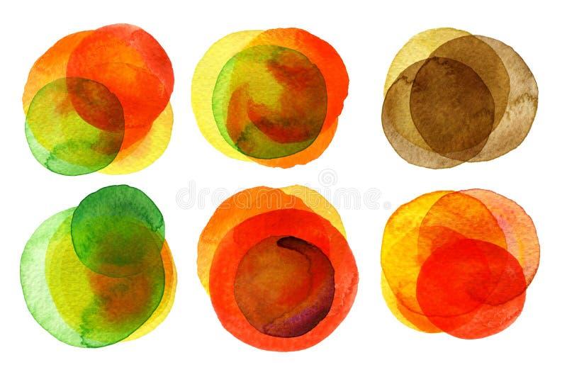 Inzameling van waterverf de hand geschilderde cirkels stock illustratie