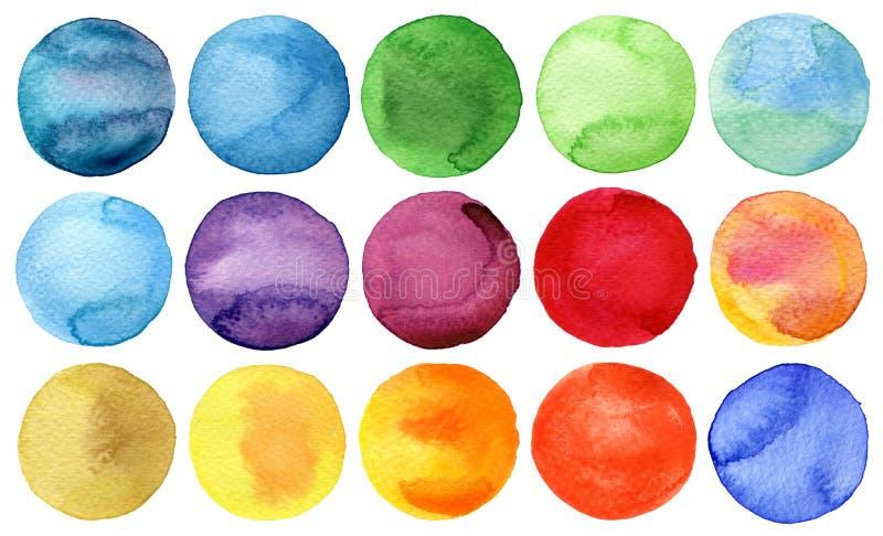 Inzameling van waterverf de hand geschilderde cirkels royalty-vrije illustratie