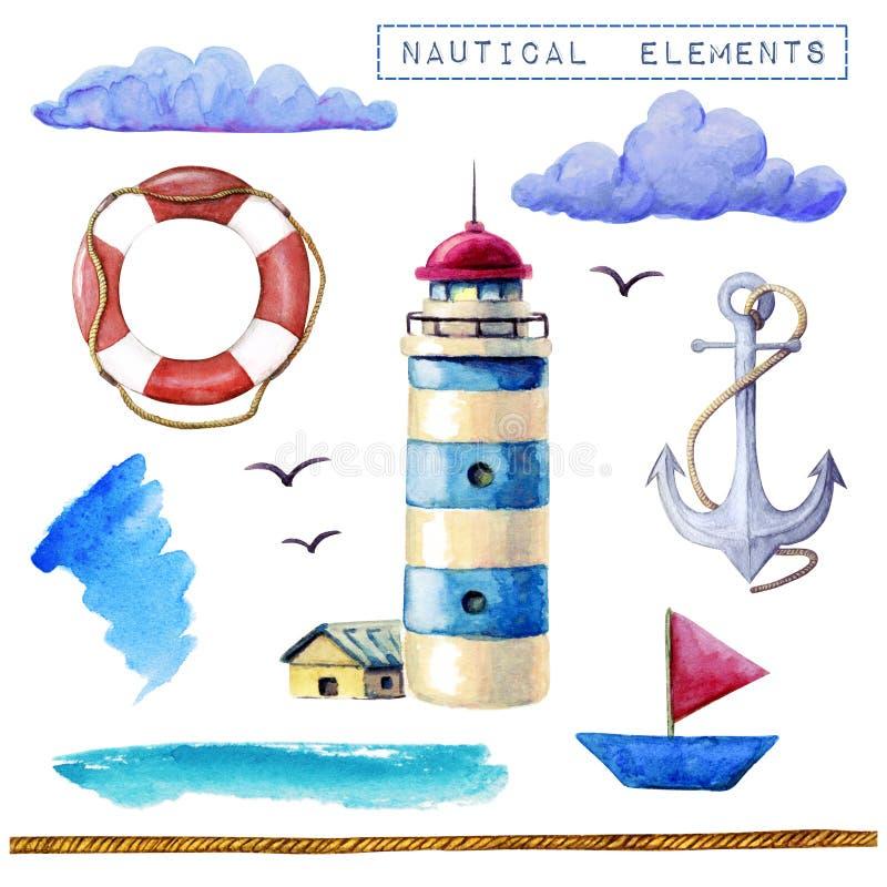 Inzameling van waterverf de zeevaartelementen Vuurtoren, schip, reddingsboei, ankerwolken op witte achtergrond worden geïsoleerd  stock illustratie