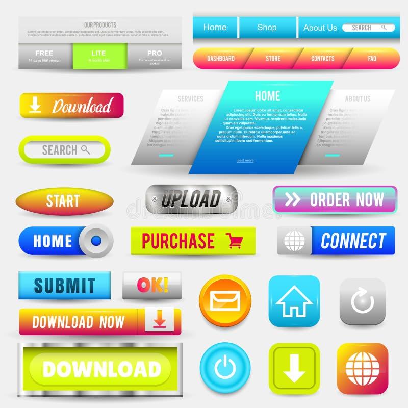Inzameling van Webknopen, Geplaatste Elementen Vectormalplaatjes, banners en etiketten, media, lintenpictogrammen voor website of vector illustratie