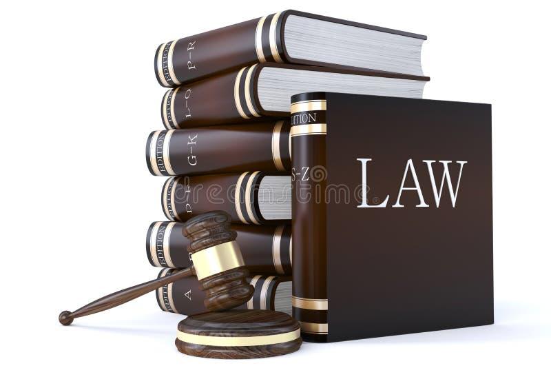 Inzameling van wetsboeken en hamer royalty-vrije illustratie