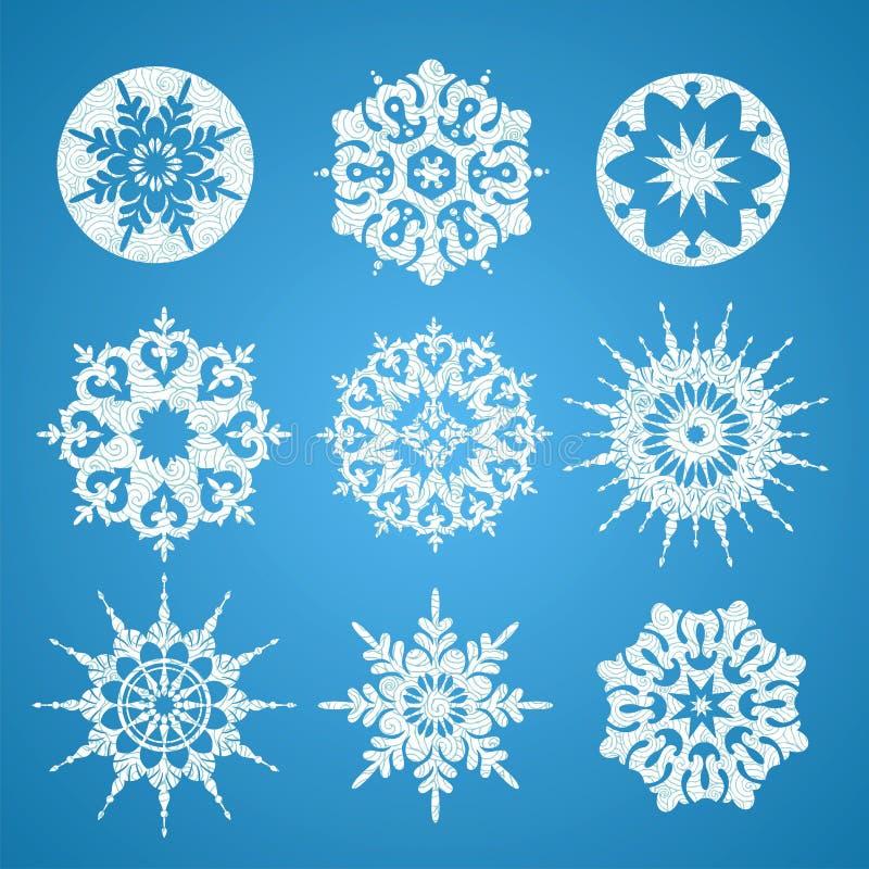 Inzameling van witte Kerstmissneeuwvlokken in verschillende vorm stock illustratie
