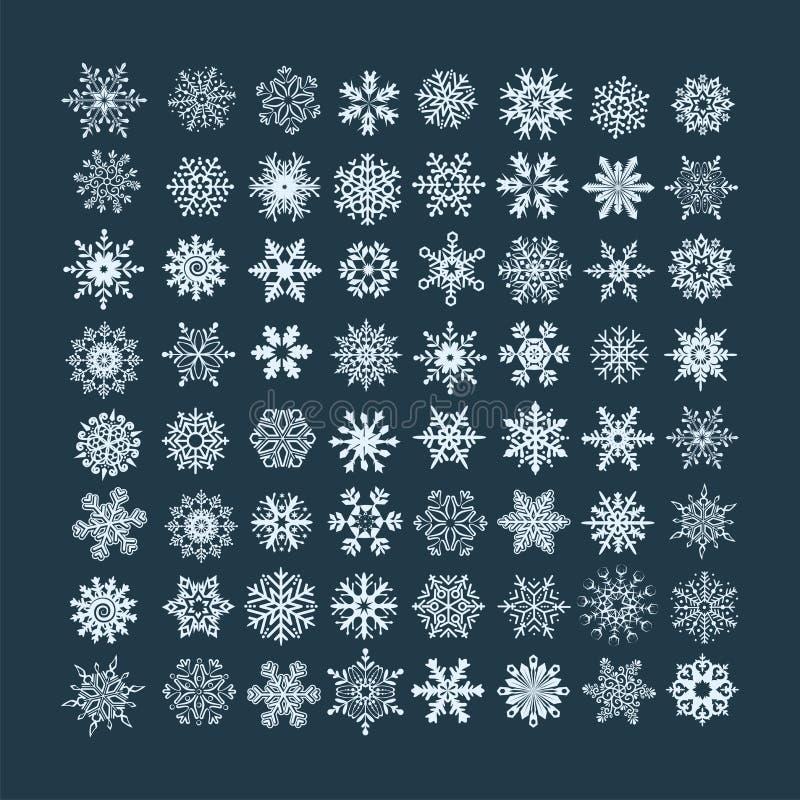 Inzameling van witte Kerstmissneeuwvlokken in verschillende vorm op B royalty-vrije illustratie