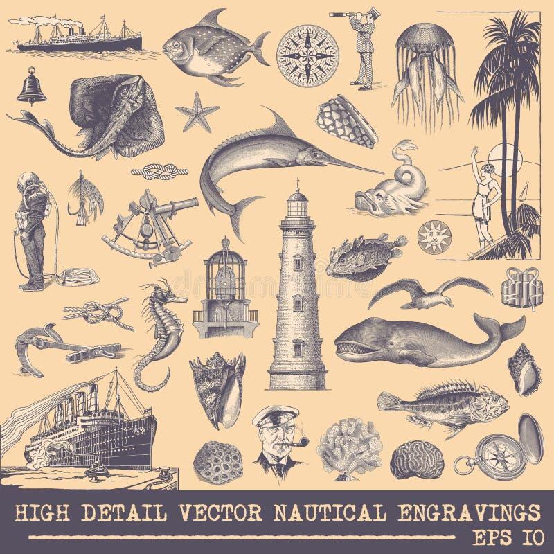 Inzameling van Zeevaart vectorgravures stock illustratie