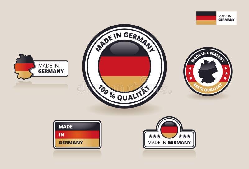 Inzameling van zes in de Etiketten, de Kentekens en de Stickers die van Duitsland wordt gemaakt vector illustratie