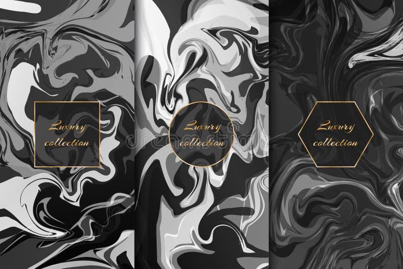 Inzameling van zwart-wit marmeren achtergronden vector illustratie