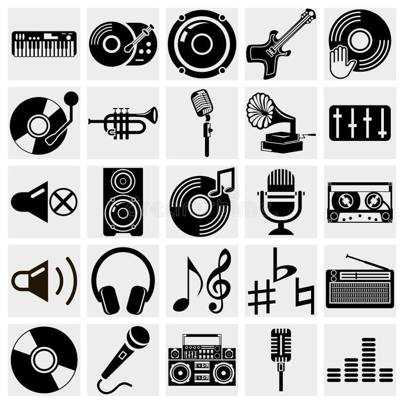 Vector zwarte muziekpictogrammen die op grijs worden geplaatst vector illustratie