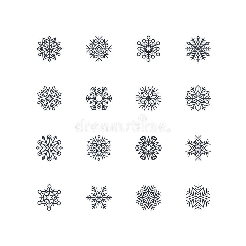 Inzameling van zwarte sneeuwvlokken op een witte achtergrond royalty-vrije illustratie