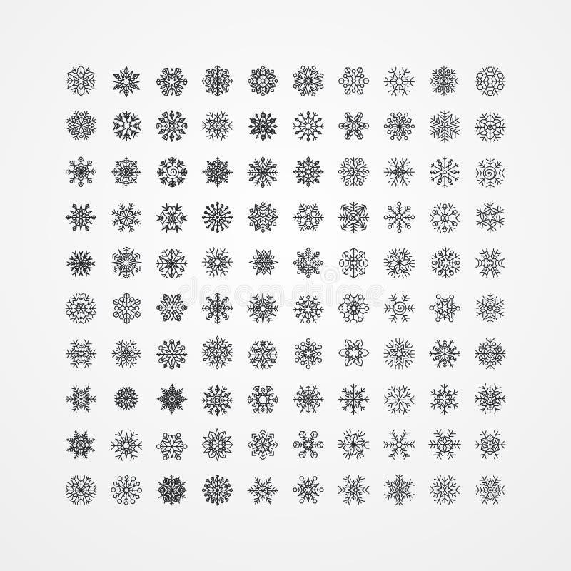 Inzameling van zwarte sneeuwvlokken op een witte achtergrond, zieke vector stock illustratie