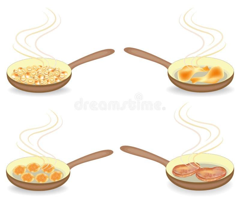 inzameling Voor een heet lapje vlees van het pangebraden gerecht, paddestoelen, kippenvlees, koteletten Voorbereiding van heerlij vector illustratie