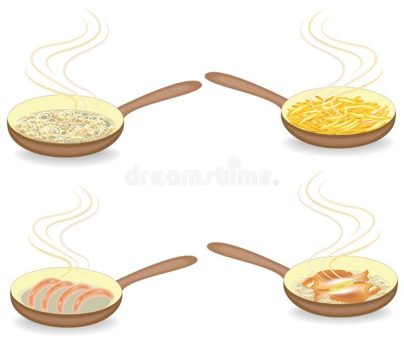 inzameling Voor een hete pan gebraden ui, vissen, worst, aardappels Voorbereiding van heerlijk en voedzaam voedsel voor ontbijt, stock illustratie