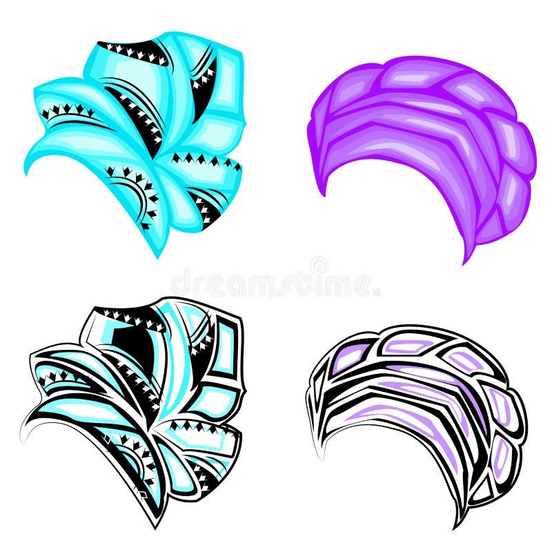 inzameling Vrouwens hoofddeksel, tulband Heldere gebreide sjaal De kleren zijn mooi en modieus Grafisch beeld Reeks van vector vector illustratie