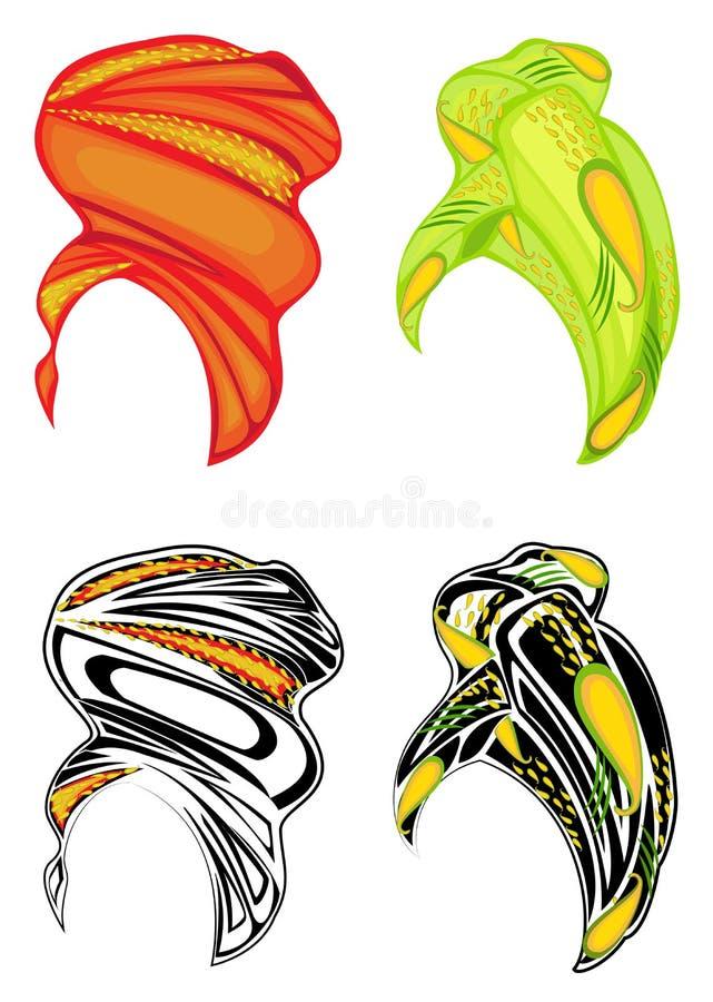 inzameling Vrouwens hoofddeksel, tulband Heldere gebreide sjaal De kleren zijn mooi en modieus Grafisch beeld Reeks van vector stock illustratie