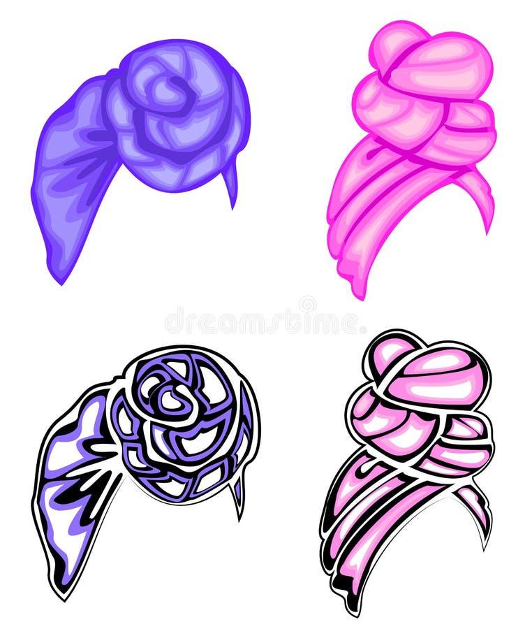 inzameling Vrouwens hoofddeksel, tulband Heldere gebreide sjaal De kleren zijn mooi en modieus Grafisch beeld Reeks van vector royalty-vrije illustratie