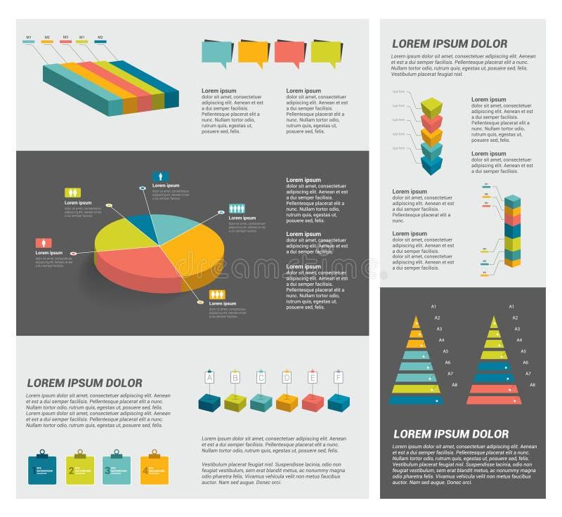 Inzamelingen van diagrammen van het infographics de vlakke ontwerp royalty-vrije illustratie