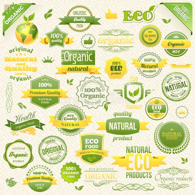 Inzamelings Vectornatuurvoeding, Eco, Bioetiketten en Elementen Embleemelementen voor Voedsel en Drank stock illustratie
