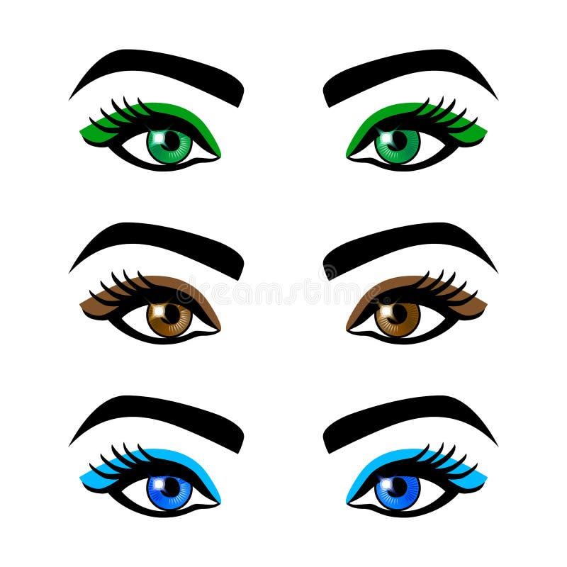 Inzamelings vrouwelijke ogen en wenkbrauwen van vormen, verschillende kleuren, met zonder make-up stock illustratie