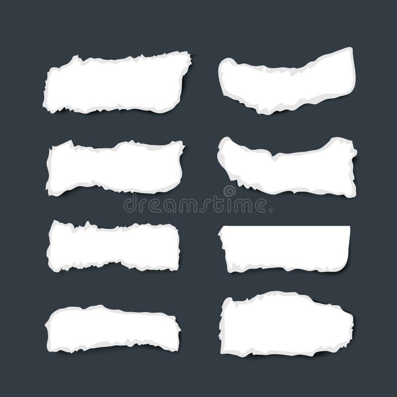 Inzamelings witte gescheurde stukken van document met ruwe randen op donkere achtergrond royalty-vrije illustratie