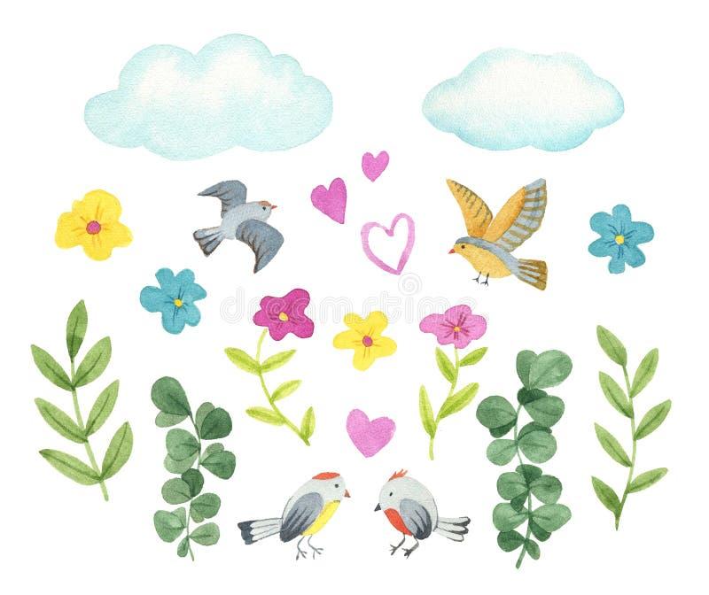 Inzamelingsbloemen, vogels, vlinders, takken en bladeren in uitstekende waterverfstijl stock illustratie