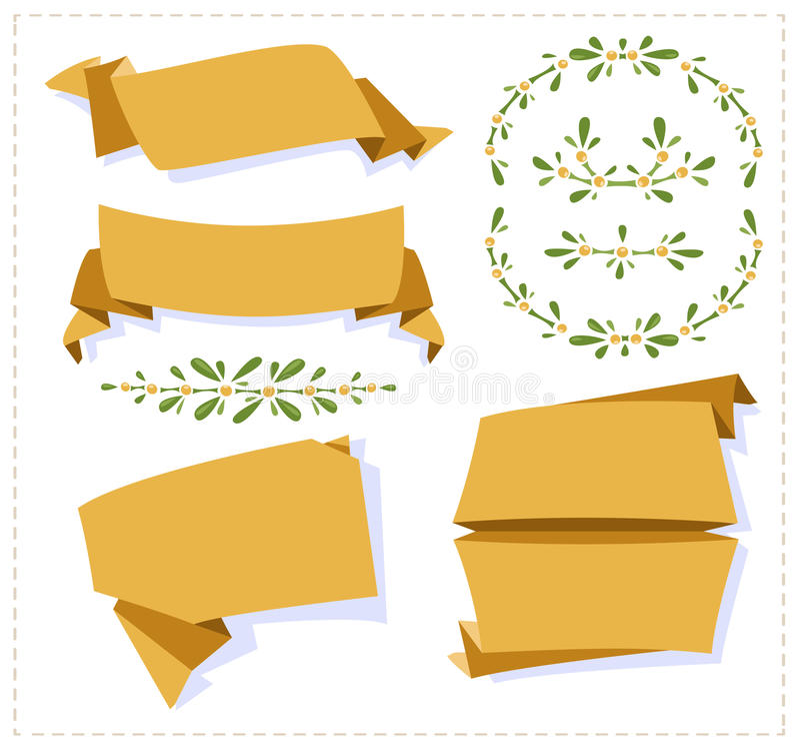 Inzamelingsdocument origamibanner stock illustratie