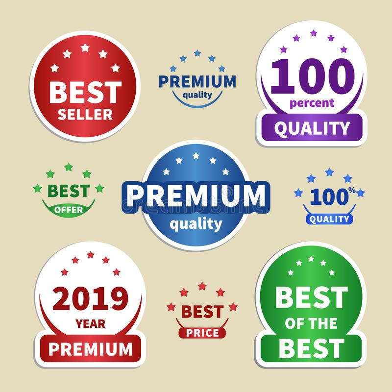 Inzamelingsdocument stickers kleurrijke etiketten voor uw projecten Bestseller, Premie, 100 Kwaliteit, Beste prijs stock illustratie