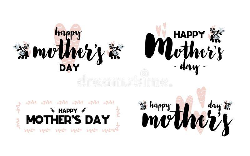 Inzamelingskaarten met het van letters voorzien gelukkige moedersdag Vectorillustratie in Skandinavische stijl met het decoratiev vector illustratie