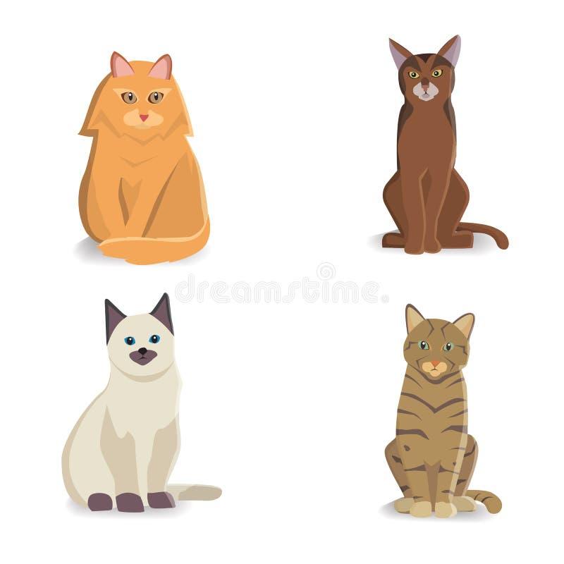 Inzamelingskatten van Verschillende Rassen Vector geïsoleerde kat op witte achtergrond Huisdier of huisdieren De katjesgezichten  stock illustratie