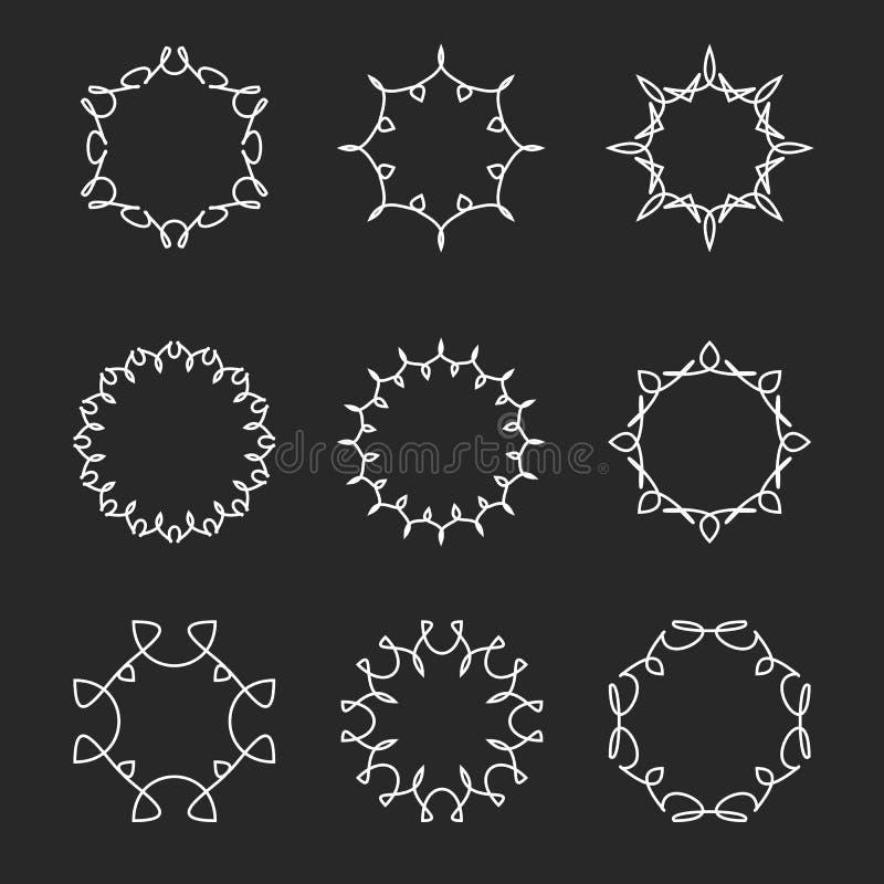 Inzamelingsmonogram om kader, vastgestelde bloemen dunne de lijnelementen van het modelontwerp hipster malplaatjekenteken vector illustratie