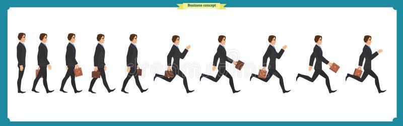 Inzamelingsreeks van Lopende en lopende zakenman Gang, actieve looppas, stock illustratie