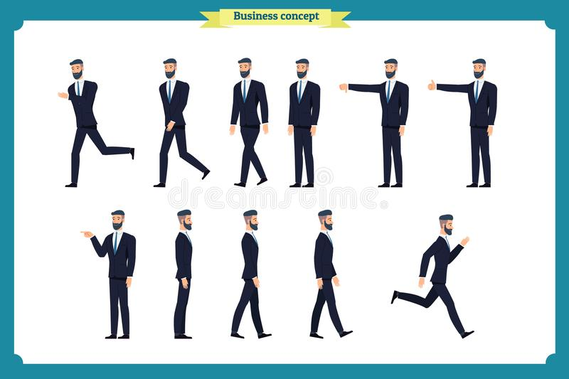 Inzamelingsreeks van Lopende en lopende zakenman Gang, looppas, actief, afkeer, als Verscheidenheid van bewegingen vector illustratie