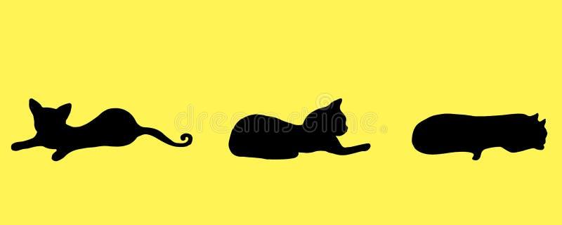 Inzamelingssilhouet drie zwart klein, grappig, speels katje, royalty-vrije illustratie