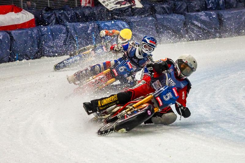 Inzell, Germany - March 16, 2019: World Ice Speedway Championship stock image
