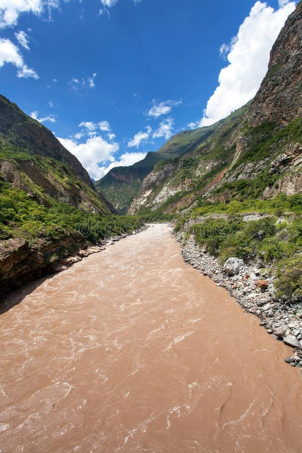 Io Apurimac, Apurimac is upper part of Amazon river. Rio Apurimac, Apurimac is upper part of the longist  and the largest Amazon river, view from Choquequirao royalty free stock photo