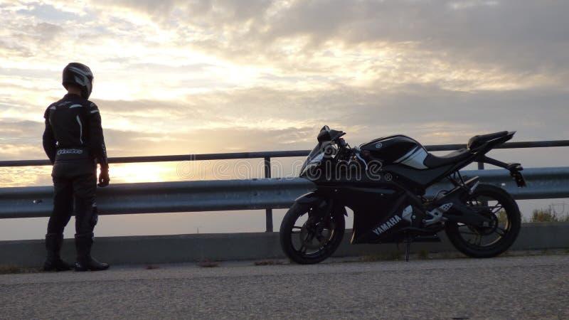 Io e la mia motocicletta fotografia stock