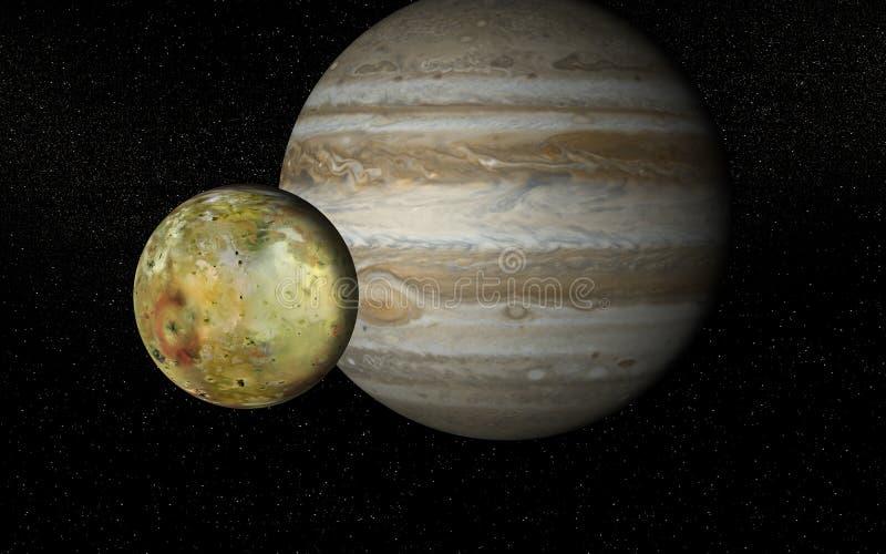 Io och Jupiter fotografering för bildbyråer