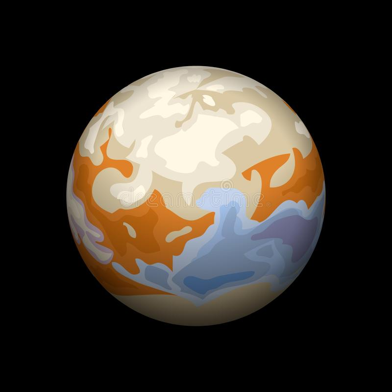 Io-planetsymbol, isometrisk stil stock illustrationer