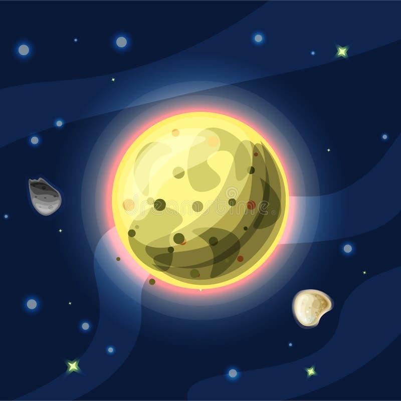 Io vektortecknad filmillustration Gul Jupitermåne Io av solsystemet i mörkt djupblått utrymme som isoleras på blått royaltyfri illustrationer