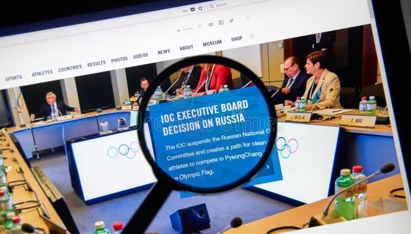 IOC schort de Russische Nationale Olympische Comité webpagina op royalty-vrije stock afbeelding