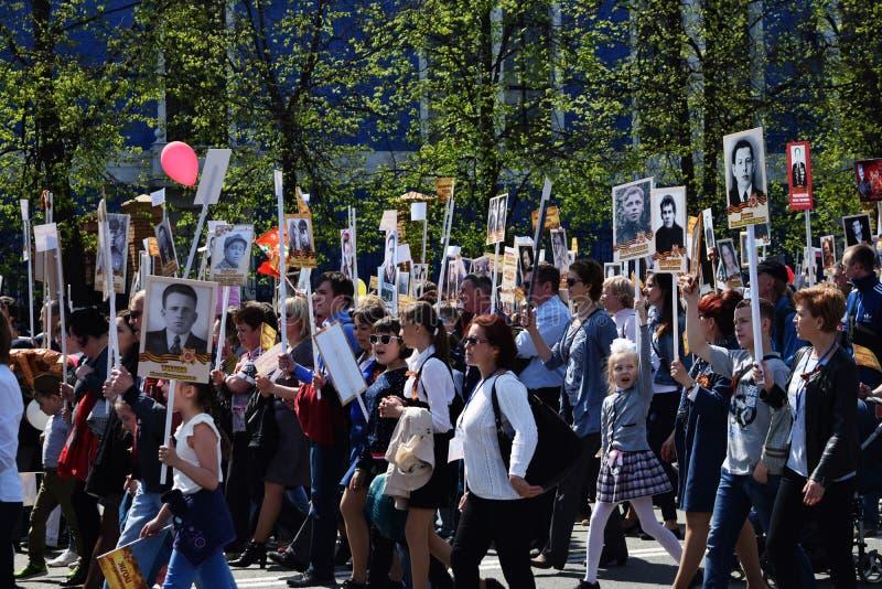 Iochkar-Ola, Russie - 9 mai 2016 Défilé d'un régiment immortel photo libre de droits