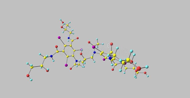 Iodixanol-Molekülstruktur lokalisiert auf Grau lizenzfreie abbildung